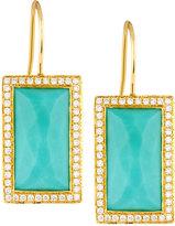 Ippolita Rock Candy Gelato 18k Turquoise & Diamond Baquette Drop Earrings, Blue