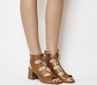 Office Mallorca Ghillie Block Heels Tan Leather