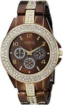 XOXO Women's XO5455 Rhinestone Accent Chocolate Analog Bracelet Watch