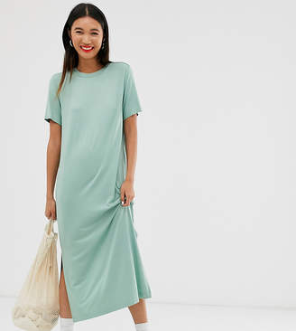 Monki midi t-shirt dress in sage green