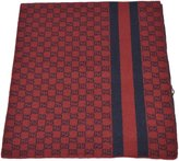 Gucci Men's Burgundy Wool Web Stripe GG Guccissima Scarf Muffler
