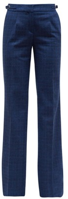 Gabriela Hearst Torres Checked Wool Blend Flannel Trousers - Womens - Blue Multi