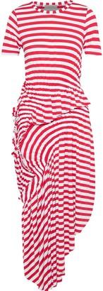 Preen Line Lala Asymmetric Ruched Striped Stretch-jersey Midi Dress