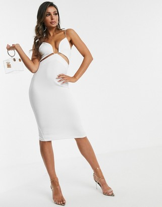 Asos Design DESIGN minimal cut out pencil midi dress-White