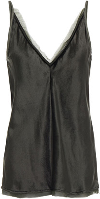 Gabriela Hearst Maria Leather And Chiffon-trimmed Silk-velvet Camisole