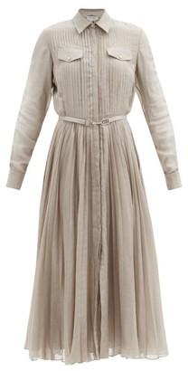 Gabriela Hearst Erella Pleated Wool-blend Voile Shirt Dress - Camel
