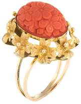 Estate Fine Jewelry Women's Carved Coral Floral Cocktail Ring