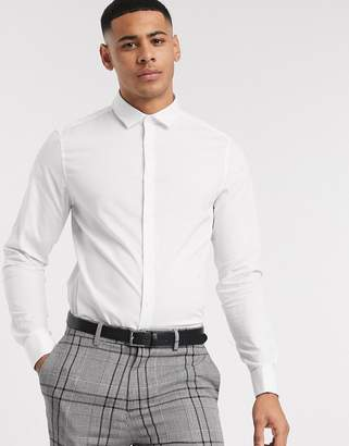 Asos Design DESIGN stretch slim formal work shirt with double cuff in white
