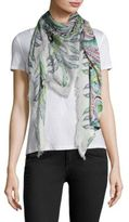 Roberto Cavalli Feather Flowers Scarf