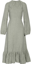 J.W.Anderson Ruffled Striped Linen Midi Dress