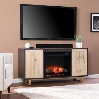 Strick & Bolton Willington Electric Media Fireplace w/ Carved Details