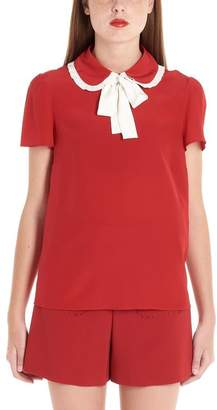 RED Valentino Pussy Bow Frilled Collar Blouse
