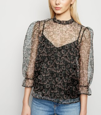 New Look Floral Organza Frill Neck Blouse