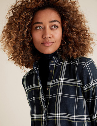 Marks and Spencer Cotton Checked High Neck Frill Detail Tunic