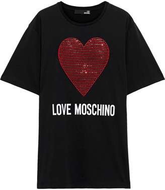 Love Moschino Oversized Embellished Printed Cotton-jersey T-shirt