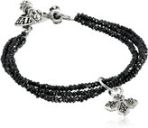 King Baby Studio Three-Strand Spinel Bracelet with Pave Cubic-Zirconia MB Cross