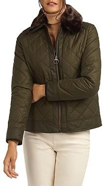 Barbour Glencoe Waxed Cotton Faux Fur Trim Coat