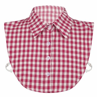 Freebily Women Girls Stylish Detachable Small Grid Plaid Print Fake Collar Dickey Collar Half Shirts Blouse False Collar Red One Size