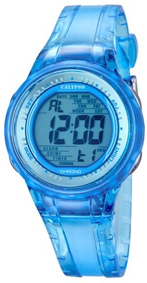 Calypso Women's Digital Watch with Blue Dial Digital Display and Blue Plastic Strap K5688/1