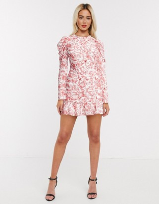 In The Style x Lorna Luxe open back frilly skater dress in pink floral print
