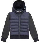 Moncler Hooded Fleece Zip-Front Jacket, Light Gray, Size 8-14