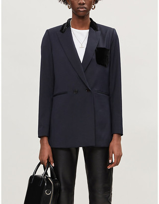 Sandro Domtille wool-blend and velvet blazer