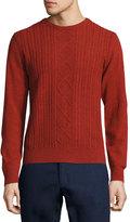 Original Penguin Wool Cable-Knit Crewneck Jersey Sweater, Rosewood