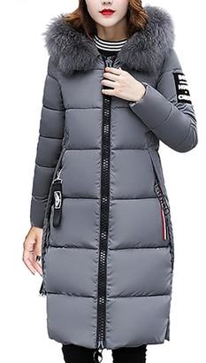 HARRYSTORE Women's Down Coat with Fur Hood Thicker Winter Slim Down Lammy Jacket Long Parka Puffer Jacket (XXXL