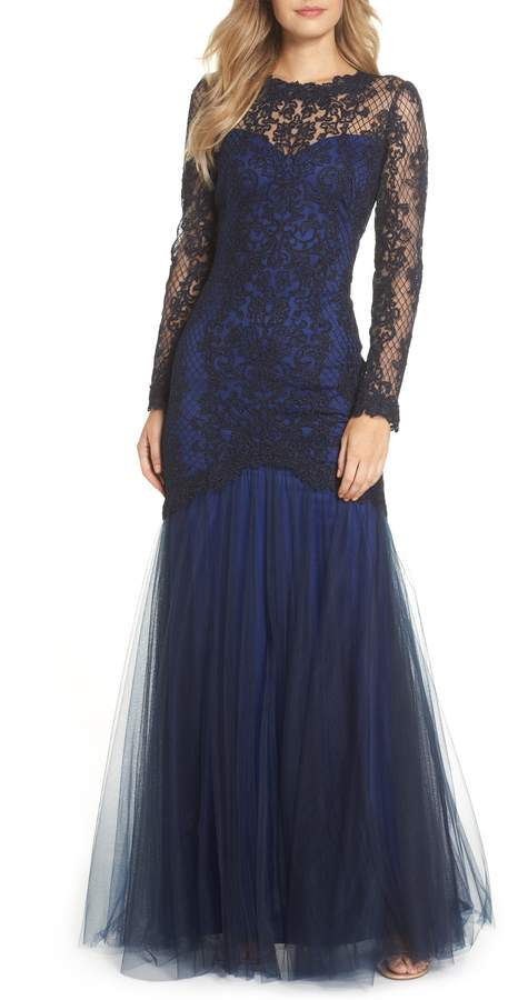Tadashi Shoji Corded Lace & Tulle Gown