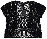 Anna Sui Black Crochet Short Sleeve Top