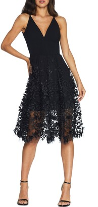 Dress the Population Darleen V-Neck Embroidered Mesh Cocktail Dress
