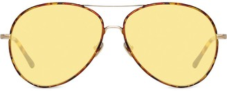 Linda Farrow Shell print aviator sunglasses