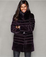 The Fur Vault Striped Lamb Fur Coat