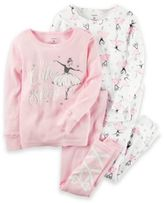 Carter's Size 2T 4-Piece Ballerina Pajama Set in Pink