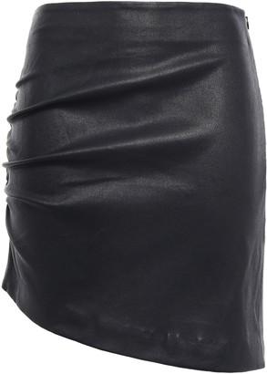 IRO Apava Asymmetric Ruched Stretch-leather Mini Skirt