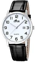 Lotus Men's Quartz Watch with White Dial Analogue Display and Black Leather Strap 18239/1