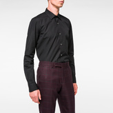 Paul Smith Men's Tailored-Fit Black Poplin Shirt With 'Artist Stripe' Cuff