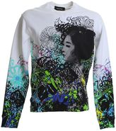 DSQUARED2 Printed White Cotton Sweater