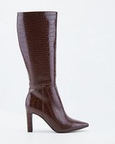 Le Château Croco Embossed Faux Leather Knee-High Boot