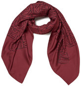 Kenzo Women's High End Icons Flying Logo Devore Scarf Bordeaux