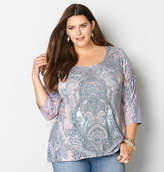 Avenue Embellished Asymmetrical Paisley Top