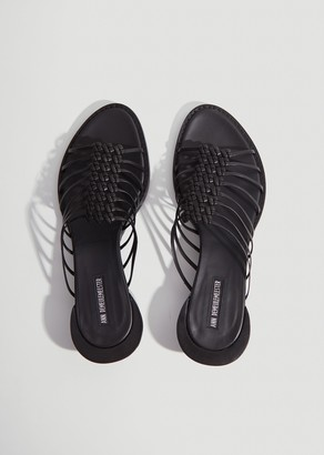 Ann Demeulemeester Braided Leather Heeled Slides