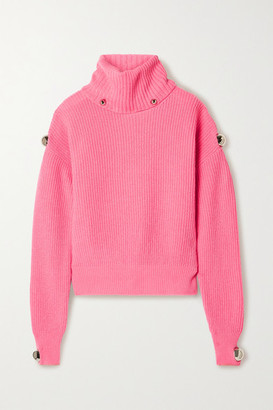 Christopher Kane Dome Embellished Ribbed Wool Turtleneck Sweater - Bubblegum