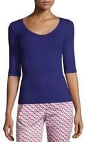 Armani Collezioni Scoop-Neck Elbow-Sleeve Jersey Top, Purple