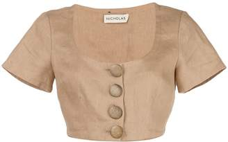 Nicholas front button fastening cropped top
