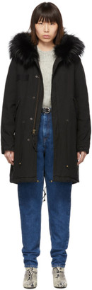 Mr & Mrs Italy Black Long Fur Army Parka