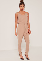 Missguided Camel Crepe Drawstring Waist Slouch Romper
