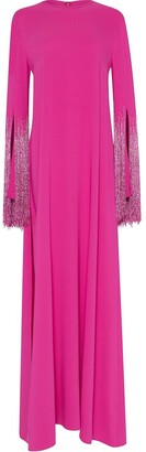 Oscar de la Renta Tassel Fringed Sleeve Gown