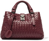 Bottega Veneta Roma Mini Intrecciato Leather Tote - Burgundy