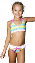 Hello Kitty Stripe Kitty Triangle Bikini - Little Girl (5/6, )